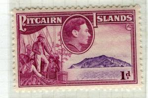 PITCAIRN ISLANDS; 1938 early GVI pictorial issue fine Mint hinged 1d. value