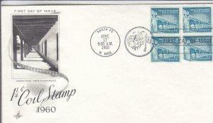 1960, 1 1/4c Coil Stamp, Artcraft, FDC (D14991)