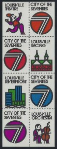 Louisville City of the Seventies Cinderella Poster Stamps Pane 8 Mint NH Stk1