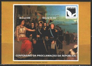 Brazil. 1989. bl 81. Painting, 100 years of the proclamation of the republic....