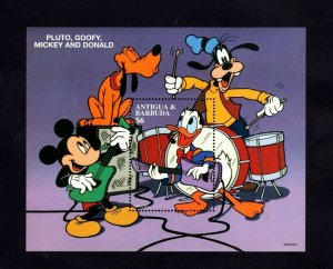 ANTIGUA - 1996 - DISNEY PALS - MICKEY - DONALD - GOOFY - MUSIC ++ MINT S/SHEET!