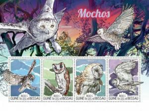 Guinea-Bissau MNH S/S Owls Birds 2015 4 Stamps