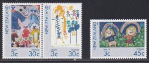 New Zealand # B124-126, Childrens Drawings, NH, 1/2 Cat.