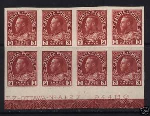 Canada #138 XF Mint Plate #A-127 Block Of Eight