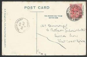SCOTLAND TO SIERRA LEONE 1907 Dumfries postcard FREETOWN arrival cds.......56986