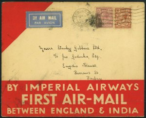 ENGLAND to INDIA First Airmail Flight FAM Imperial Airways London Bombay 1929