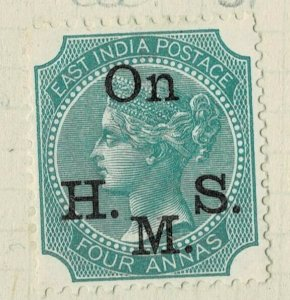 india 1874-82 - ON.H.M.S OVERPRINT - QV 4 AS GREEN SG NO 034 MM
