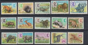 1969 Swaziland Scott 160-174 Animals MNH