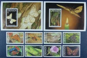 Grenada 1993 butterflies insects fauna moth set+2s/s MNH