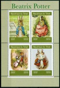 Chad Beatrix Potter Stamps 2019 MNH Peter Rabbit Foxes Rabbits Animals 4v M/S