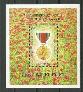 1995 Liberia #1179 End of World War II 50th Ann. MNH S/S