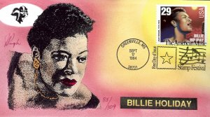 Pugh Designed/Painted Billie Holiday FDC...83 of  109 created!