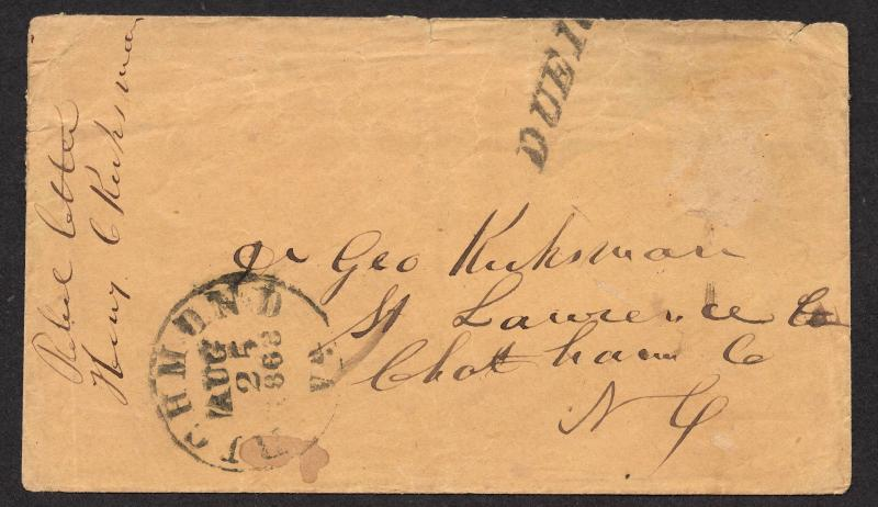 **CSA Stampless Cover, Richmond, VA 8/25/1862 CDS, Due 10 H/S