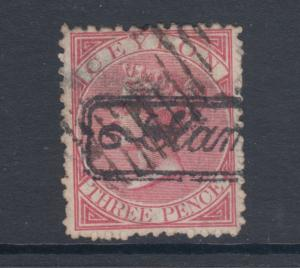Ceylon SG 60, Sc 59, used. 1866 3p rose QV, Perf 12½, unusual cancel, small tear