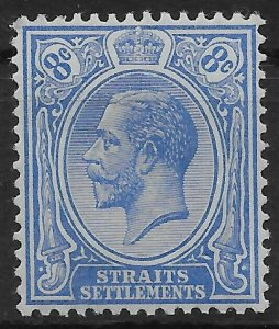 MALAYA STRAITS SETTLEMENTS SG201 1913 8c ULTRAMARINE MTD MINT