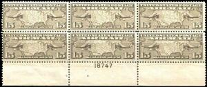 US Airmail 15¢ Brown C8 Plate Block OF 6 FLAT PLATE MNH # 18745