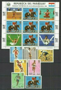 I401 PARAGUAY OLYMPIC GAMES SEOUL 1988 #4047-53+KB MICHEL 24,5 EURO FIX