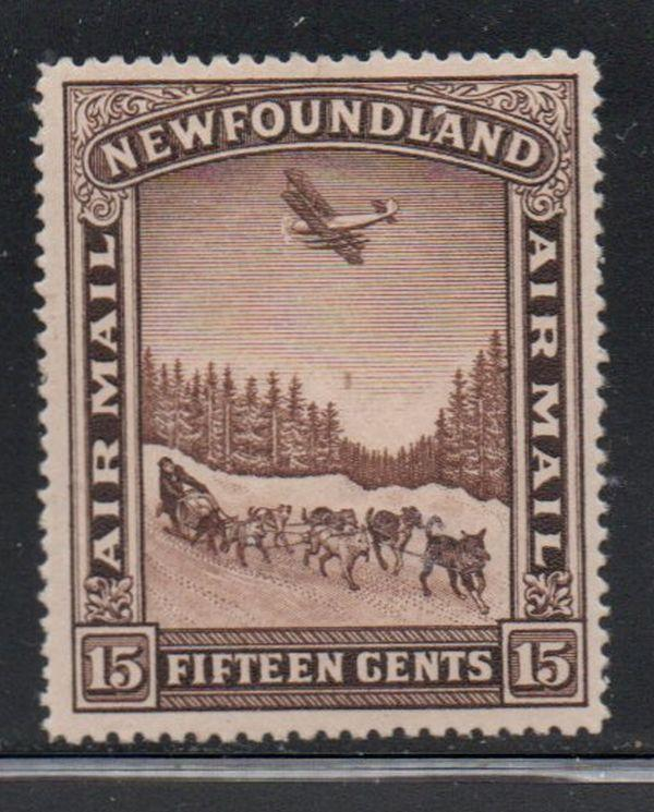 Canada Newfoundland Sc C6 15c Airplane over Dog Sled airmail stamp mint
