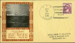 #784 ON U.S.S. MADISON CACHET BY LOUIS WEIGAND BN2903
