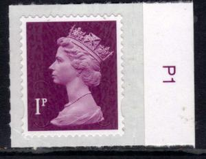 GB 2015 QE2 1p Maroon Security Machin Umm & Border SG U2920 ( G971 )