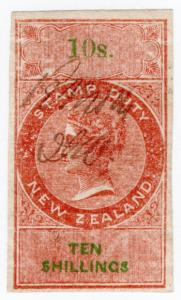 (I.B) New Zealand Revenue : Stamp Duty 10/- (reversed & inverted watermark)