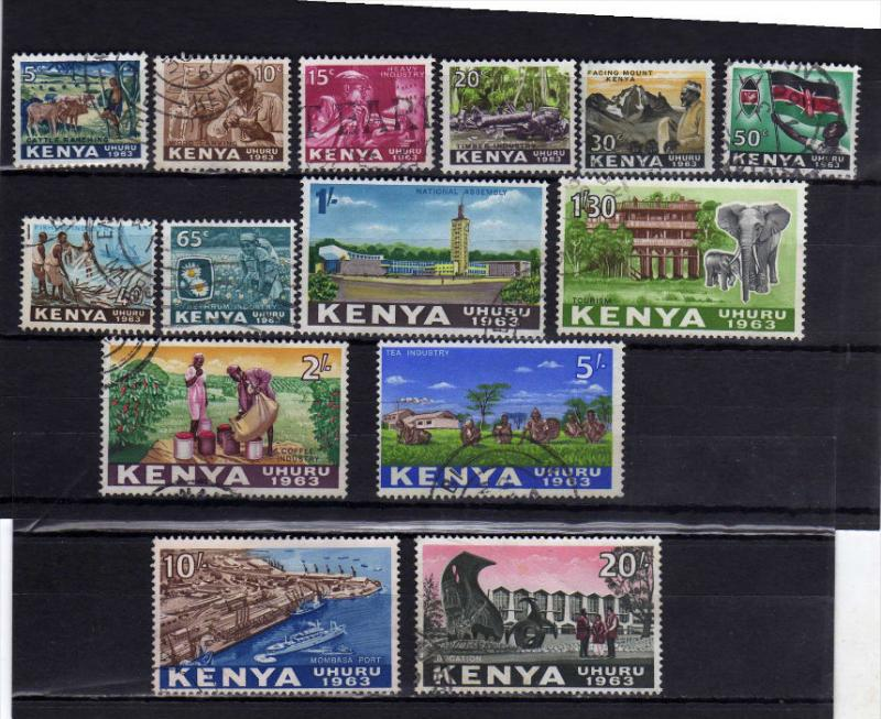KENYA 196E INDEPENDENCE COMPLETE SET INDIPENDENZA SERIE COMPLETA USATA USED