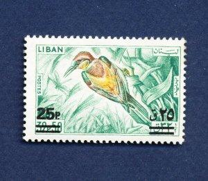 LEBANON - Scott 459  surcharge - FVF MNH - BIRDS - 1972