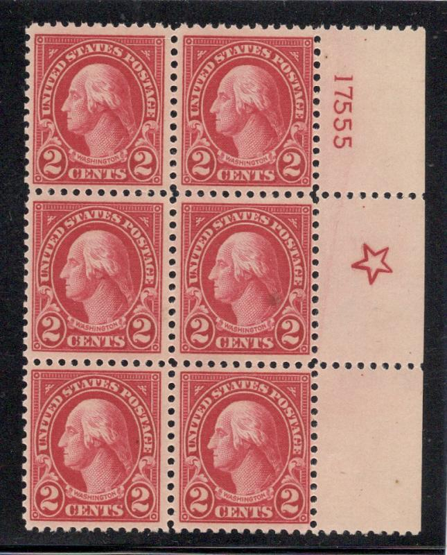 US#554 Carmine - Plate# Block of 6 - O.G. - N.H., (but)