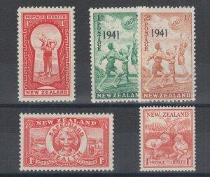 New Zealand Sc B8, B11, B13, B18-B19, MLH. 1935-48 Semi Postals, 4 cplt sets