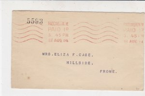England 1914 PaddingtonW. Cancel Gt. Western Railway Bk Meter Mail Cover Rf34893