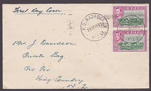 FIJI 1942 2d pair used on FDC - NADROGA cds..................................470