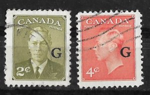 Canada # O28-29 King George VI G overprints  New Colors (2) VF Used