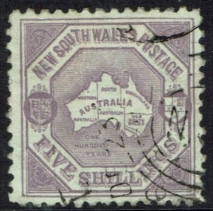 NEW SOUTH WALES 1890 MAP 5/- WMK 5/- NSW IN DIAMOND PERF 10 USED