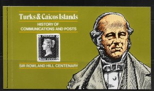 TURKS & CAICOS ISLAND, 398, MNH, SOUVENIR BOOKLET, SIR ROWLAND HILL