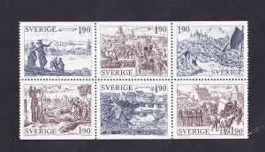 Sweden   #1508a-1513a   MNH  1984   booklet pane  medieval towns   engravings