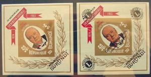Burundi, 2 Souvenir Sheets featuring Winston Churchill, MNH