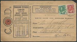 CANADA 1919 C.O.D. envelope Toronton & Owen Sound TPO pmks.................39143