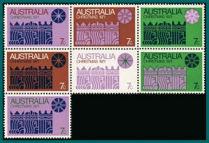 Australia 1971 Christmas, Cream Block of 7, MNH #508,SG498a