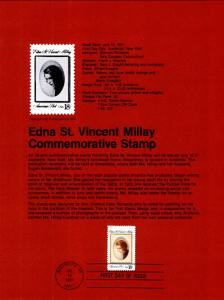 US SP559 Edna Millay 1926 Souvenir Page FDC