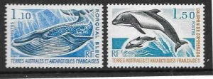 FRENCH SOUTHERN & ANTARCTIC TERRITORIES SG113/4 1977 MARINE MAMMALS MNH