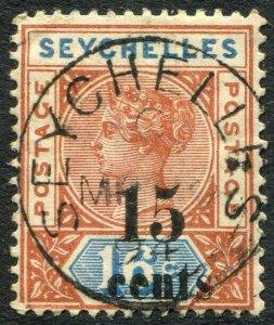 SEYCHELLES-1893 15c on 16c Chestnut & blue Sg 18 FINE USED V48928