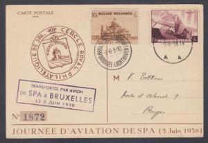 Belgium Sc B209, B214 on 1938 postcard, first meeting of SPA Air Meet