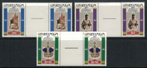 Grenada #873-5* NH Gutter Pairs  CV $2.10 Queen Elizabeth coronation 25th Ann.