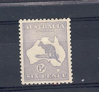 Australia, 48a, Kangaroo & Map Single - Chalkey Paper,**HH**
