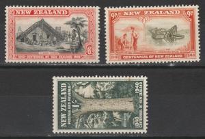 NEW ZEALAND 1940 CENTENARY 8D 9D AND 1/-