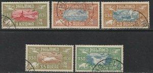 Sc# C4 / C8 Iceland 1930 Icelandic scenes airmail complete set Used CV $470.00