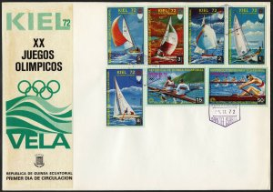 C18 Equatorial Guinea Oversized FDC 1972 Summer Olympics Sailing Kiel set of 7