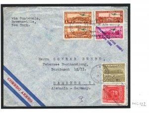 NICARAGUA Cover *COFFEE ADVERT CACHET* 1936 Air Mail Hamburg via USA MC122
