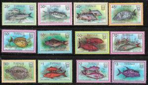 Tuvalu #729-740 Fish ( MNH) Specimen copies CV $20.00