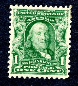 US #300 – 1903 1c Franklin, blue green. MH VF.